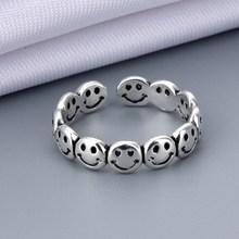 Vintage antigo prata cor feliz sorridente rosto aberto anéis para mulheres punk hip hop anel ajustável moda jóias melhor presente