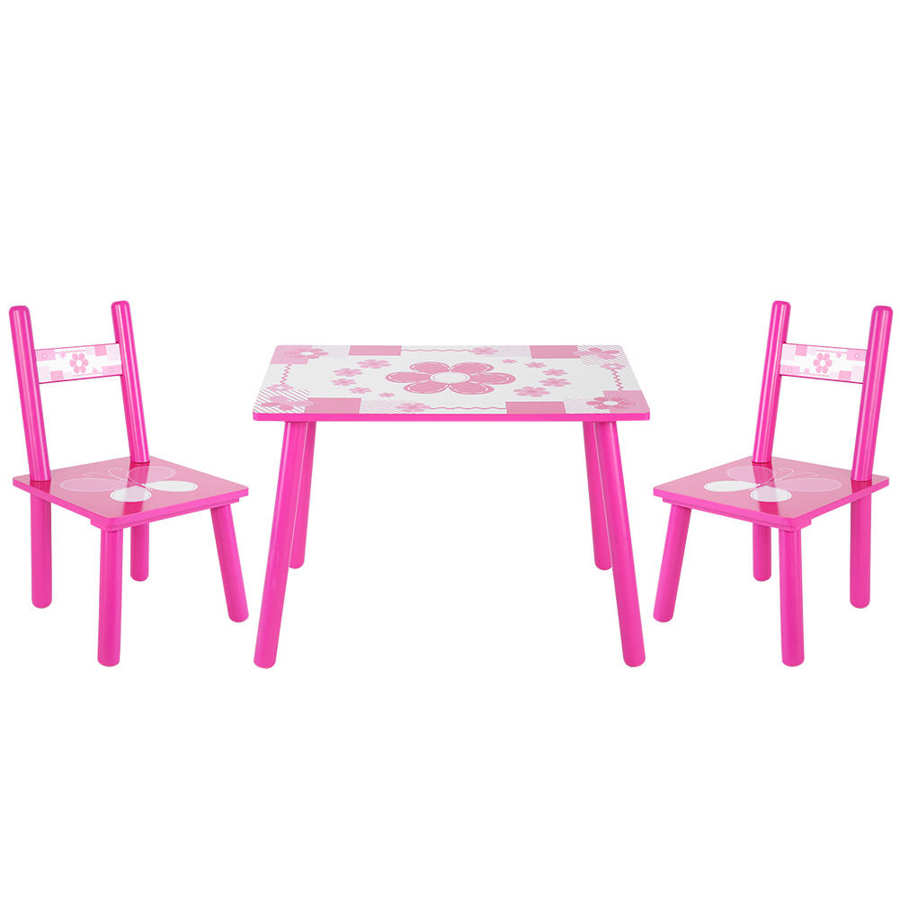Childrens Wooden Flowers Table and Chair Set  Kids Childs Studying Painting Home School