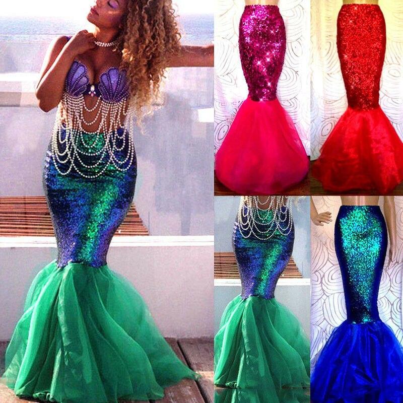 Women's Skirts Adult Mermaid Tail Full Skirt Party Long Fancy Cosplay Costume Ladies Skinny High Waist Basic Daily Sheath 2020