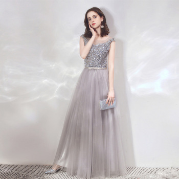 Women's evening party dress O neck sequined plus size long formal prom evening dress sexy grey party ceremony gowns for women