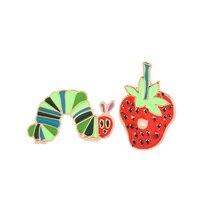 Strawberry Caterpillar enamel pin Cartoon Plant Animal badge brooch Lapel Denim Jeans shirt bag Funny Cute Jewelry Gift
