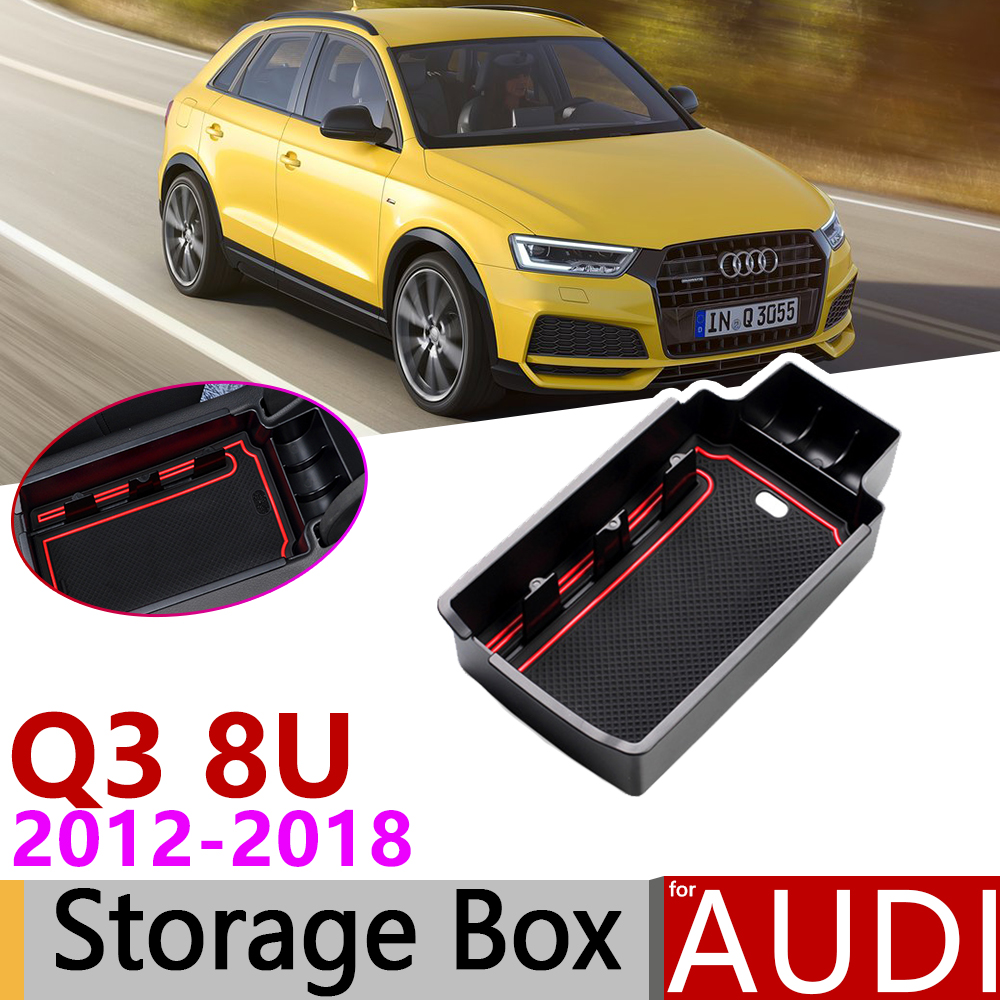 for Audi Q3 8U MK1 S Line 2012~2018 of Armrest Box Storage Stowing Tidying Car Organizer Accessories 2013 2014 2015 2016 2017|Car Stickers| |  - title=