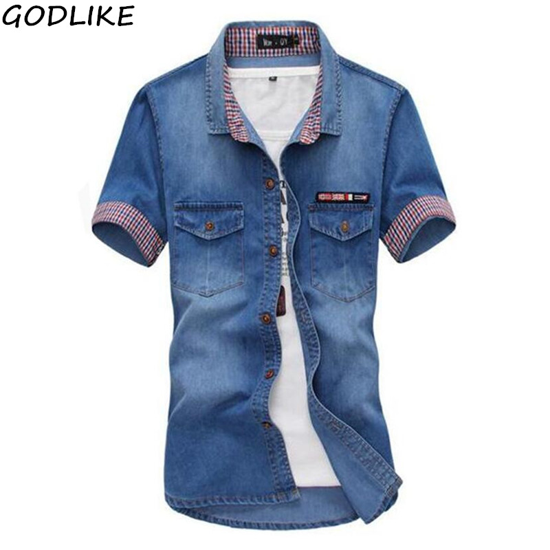 New 2019 Summer Denim Shirt Men's Cotton Soft&Comfortable Men Shirt Jeans Straight Light Blue Casual Short Shirt Male