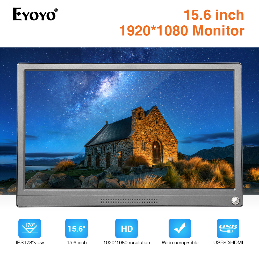 Eyoyo Portable Monitor 15.6 Inch HDMI Touch Screen LCD USB Type-C 1920X1080 IPS For Raspberry Pi PC PS4 Laptop Phone Xbox Switch