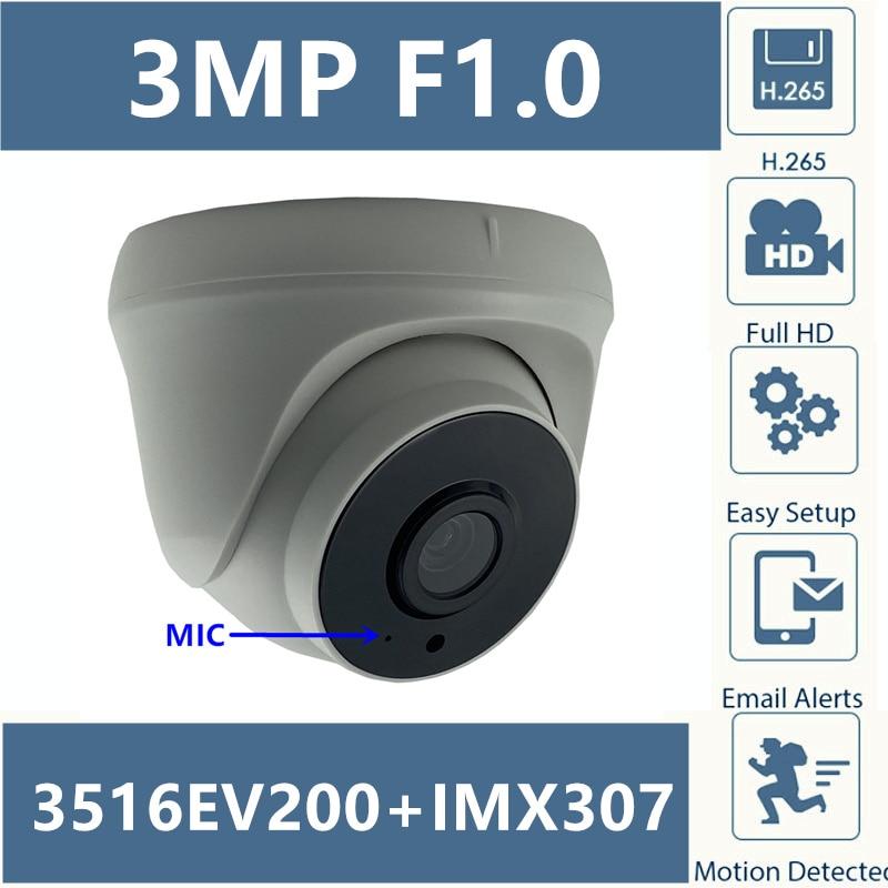 F1.0 Lens Sony IMX307+3516EV200 IP Dome Camera H.265 3MP 2304*1296 Low illumination All Color CMS XMEYE ONVIF Motion Detection|Surveillance Cameras|   - AliExpress