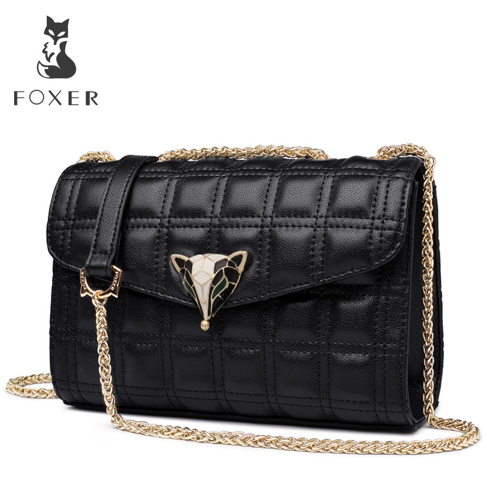FOXER marque Sexy dame treillis sac chaîne bandoulière Chic Messenger sacs femmes en cuir doux mode haute qualité sac à bandoulière-in Sacs à bandoulière from Baggages et sacs    1