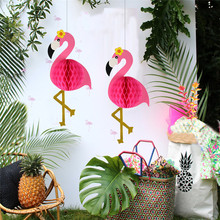3D Party DIY Decoration Flamingo Wedding Flamingo Lantern Ornaments Paper Honeycomb Flamingo Wedding Party Decoration XMAS