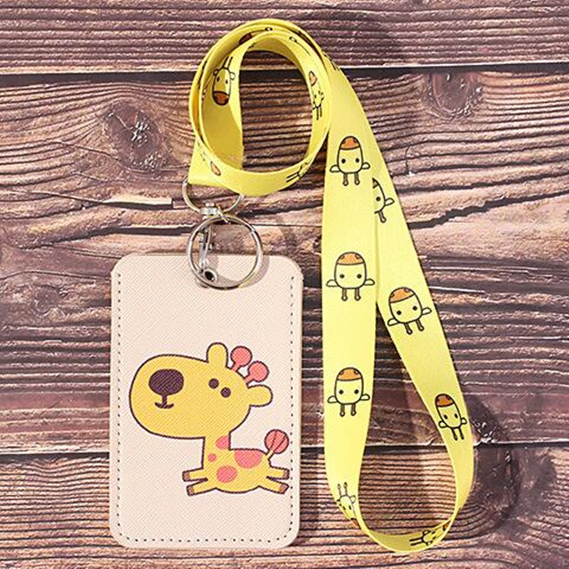 Korean Cute ID Card Holder Badge Holder With Lanyard Cartoon Kawaii Student Card Set Retractable Lanyard Badge Reel Stationery