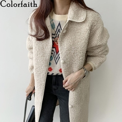 Colorfaith New 2020 Autumn Winter Women Jackets Warm Korean Style Office Lady Coat Outerwear Wool Blends Wild Long Tops JK7212