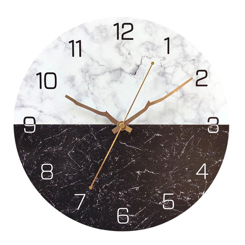 Luxury Marble Modern Wall Clock Silent Personality Nordic Living Room Wall Clock Round Creative Wand Klok Decor Clock MM60WC