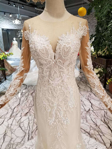 Image 4 - BGW HT43025 Свадебные платья русалки тяжелые Свадебные платья ручной работы с кристаллами Длинные трубы 2020 модный дизайн со съемным шлейфом