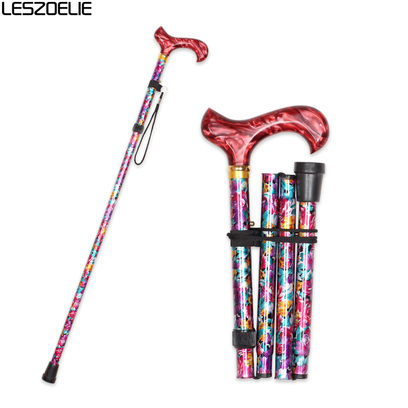 Foldable Walking Stick Women 2020 Luxury Fashion Decorative Walking Canes Lady Flowers Printed Adjustable Walking Stick