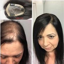 BYMC – toupet de cheveux naturels pour femmes, 5x8, avec Clip de fixation, Mono-base en PU, couleur naturelle, Extension capillaire, Volume 130%