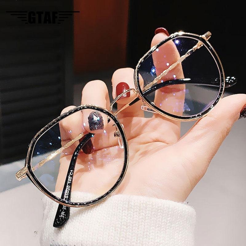 -1.0 -1.5 -2.0 -2.5 -3.0-6.0 para-moda masculina redonda miopia óculos de grandes dimensões quadros estudantes óculos de metal claro