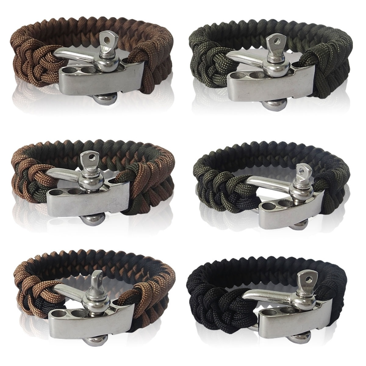 Yougle Survival Adjustable 550 Paracord Bracelet Parachute Cord Wrist Band With Stainless Steel Bow Shackle Buckle