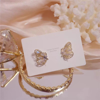 MENGJIQIAO New Fashion Cute Rhinestone Gold Color Butterfly Stud Earrings For Women No Piercing Fake Cartilage.jpg 350x350 - MENGJIQIAO New Fashion Cute Rhinestone Gold Color Butterfly Stud Earrings For Women No Piercing Fake Cartilage Earring Gifts
