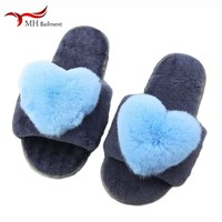 Family Home Cotton Shoes New Winter Gray Sheep Shearing Fur One Non slip Thick Warm Warm Soft Bunny Rabbit Slippers Women J11