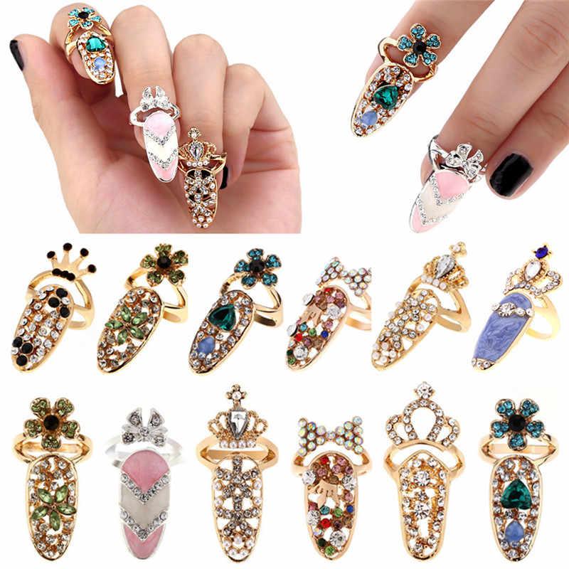 1 pc * טבעת אופנה אלגנטית נשים כתר קריסטל אצבע נייל אמנות טבעת אצבע טבעות יופי תכשיטים