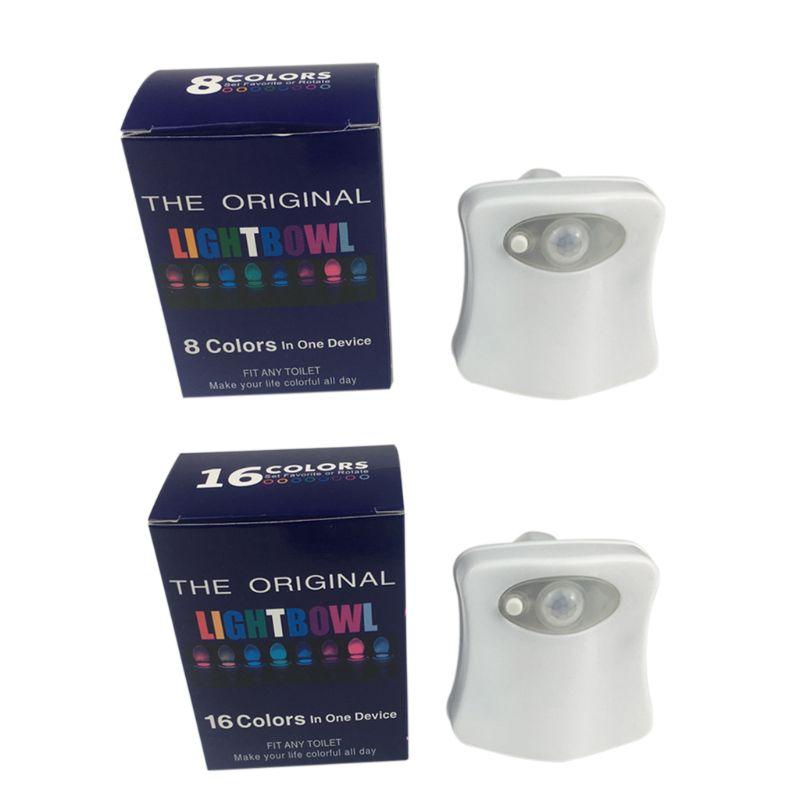 8/16 Color LED Motion Toilet Bowl Night Light Activated Sensor Bathroom Lamp Kid