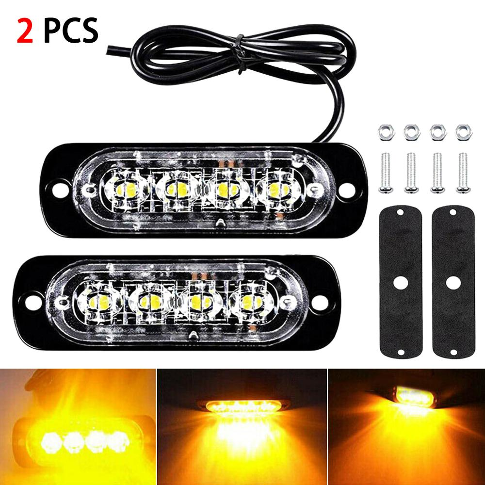 2pcs 12W 4 LED Spotlight Amber Car Truck Motorcycle Emergency Beacon Warning Hazard Flash Strobe Underbody Turn Light Bar