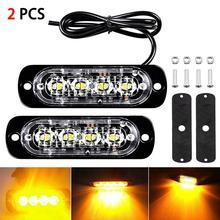2pcs 12W 4 LED Spotlight Amber Car Truck Motorcycle Emergency Beacon Warning Hazard Flash Strobe Underbody Turn Light Bar