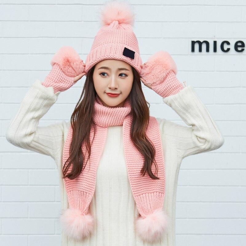 Cute Women Knitted Hat Gloves Scarf Set Xmas Winter Warming Beanie Hat Half Finger Glove IK88