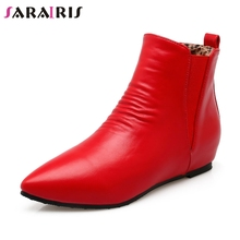 SARAIRIS New Plus Size 31-48 Mature Pleated Chelsea Boots Women 2019 Autumn Casual Low Heels Elastic Brand Shoes Woman