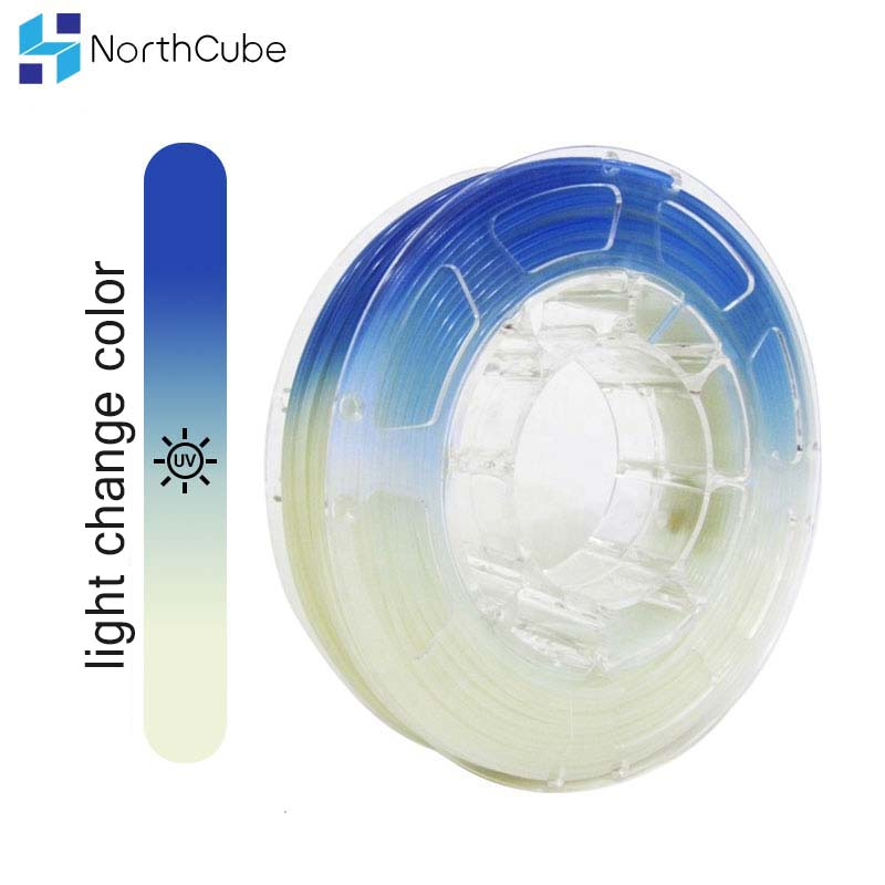 3D Printer Filament UV Light Change Color Filament   PLA Filament  1.75mm +/  0.03 mm  2.2 LBS(1KG)White to Blue 3D Printing Materials     - title=
