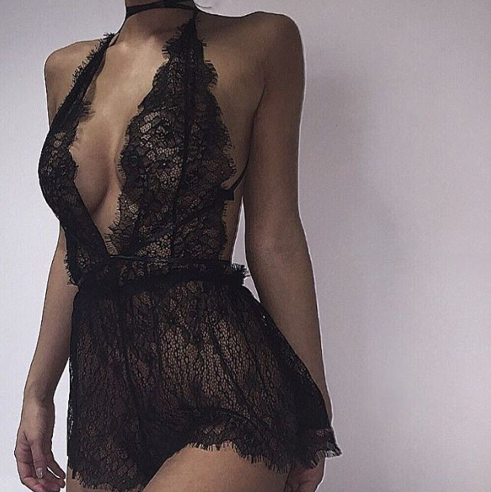 Womens Sexy Lingerie Lace Dress Underwear Black Babydoll Sleepwear G-string Fashion