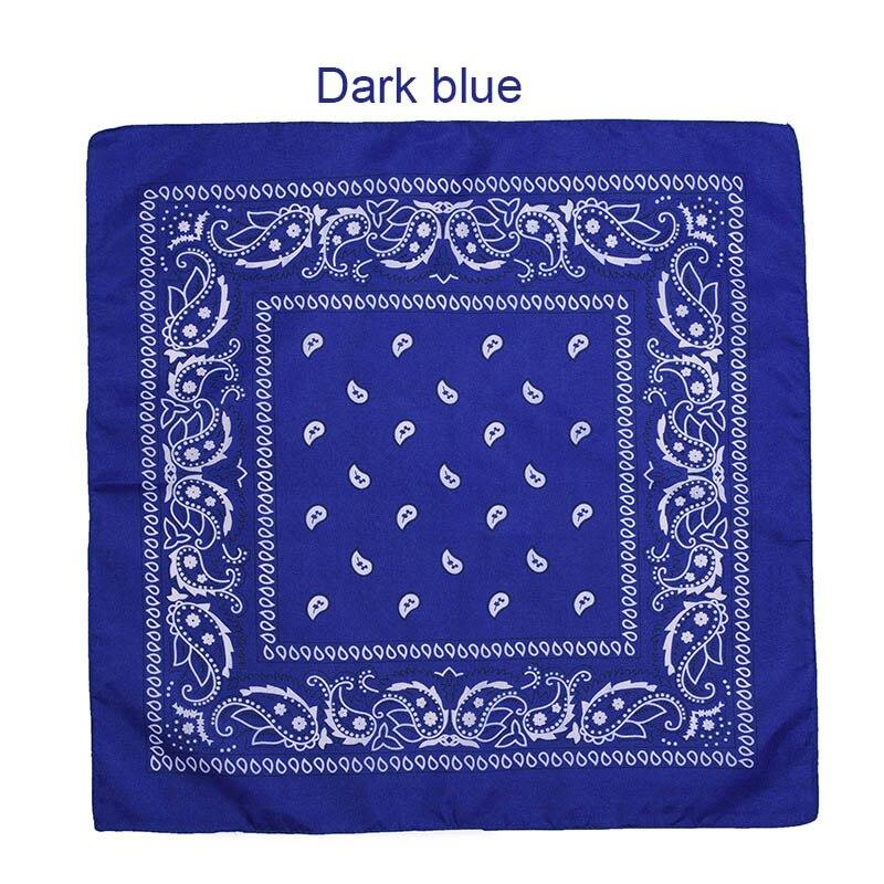 55 см* 55 см, унисекс, черная бандана, модный головной убор, повязка на голову, шейный шарф, повязки на запястье, квадратные шарфы, платок с принтом, Прямая поставка - Цвет: Drak blue