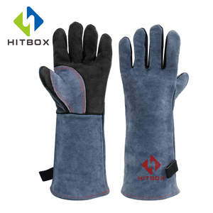 HITBOX Welding Gloves BBQ Kitchen Stove Heat Puncture Resistant Pet Training Thick Leather Gloves(China)