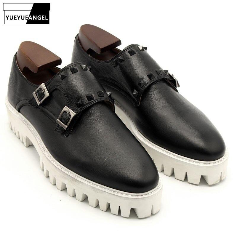 Mens Buckle Monk Strap Shoes Handmade Thick Platform Runway Genuine Leather Casual Male Footwear Antiskid Rivet Slip On Loafers