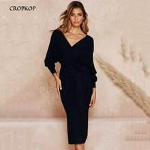 Long Dress Women Sexy Backless V Neck Wrap Side Slit Midi Dress Jumper New Autumn Winter Long Sleeve Ladies Warm Clothing 2019 цена 2017