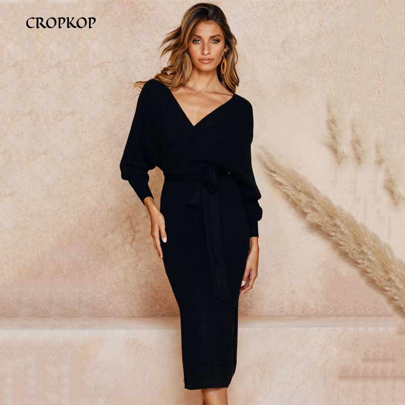 Long <font><b>Dress</b></font> Women <font><b>Sexy</b></font> Backless V Neck Wrap Side Slit Midi <font><b>Dress</b></font> Jumper New Autumn <font><b>Winter</b></font> Long <font><b>Sleeve</b></font> Ladies Warm Clothing 2019 image