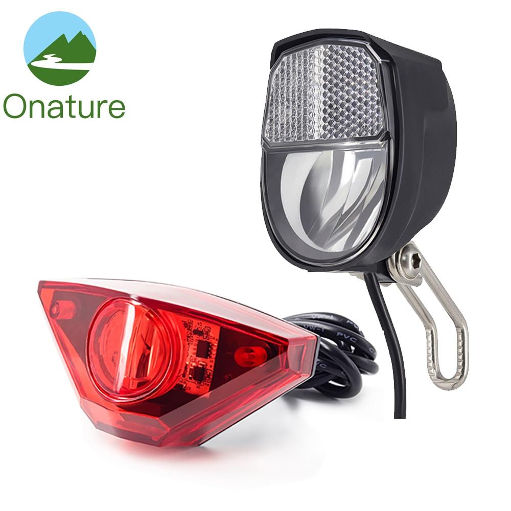 Onature ebike light set with electric bike headlight 70 lux and ebike rear light input DC6V 12V 24V 36V 48V 60V LED e bike lightElectric Bicycle Accessories   -