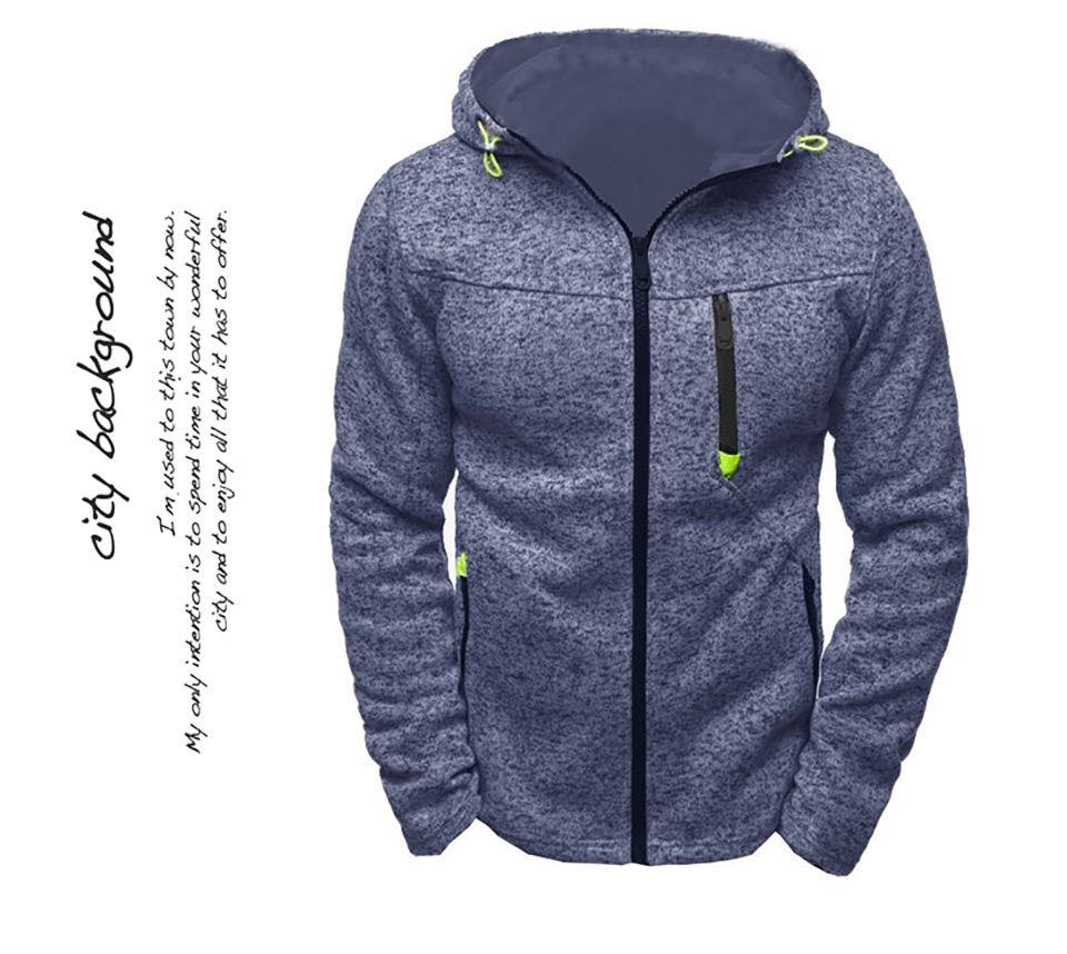Men Sports Casual Wear Zipper Fashion Tide Jacquard Hoodies Fleece Jacket Fall Sweatshirts Autumn Winter Coat 26