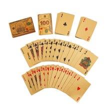 Специальный покер 3D роскошные золотые Фольга пластиковые игральные карты 100 USD водонепроницаемые карты для покера Техас таможенных колода ...