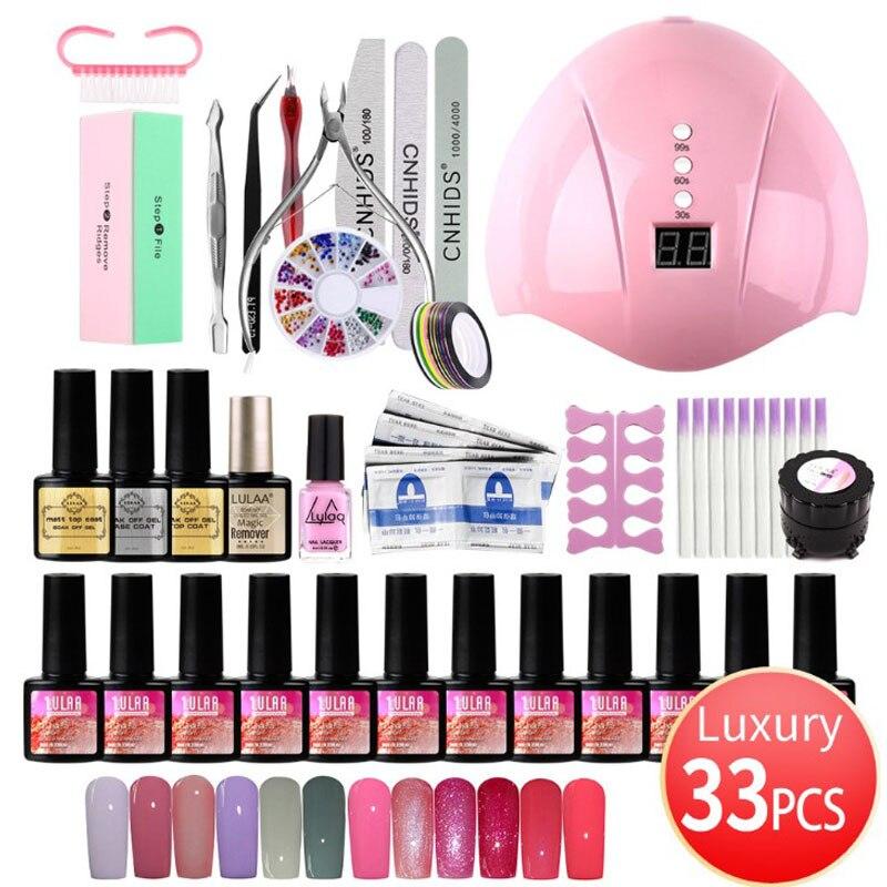 Manicure Set 36W UV LED Lamp Dryer With 12PCS Nail Gel Polish Kit Soak Off Manicure Set Gel Nail Polish For Nail Art Tools