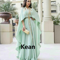 Mint Green Moroccan Kaftan Mother of the Bride Dresses Appliques Evening Dress Vestido de Renda Groom Mother Formal Party Dress
