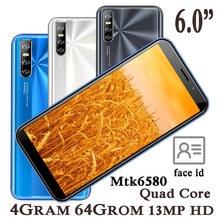 6.0 Polegada smartphones 8c 2sim telefones celulares face id desbloqueado quad core ips android 4g ram 64g rom original celulares celular-telefone