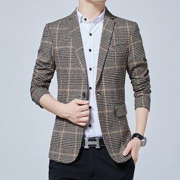 Men Business Leisure Suit Slim Fit Small Suit Grid Coat Work Big Code Single West Jacket