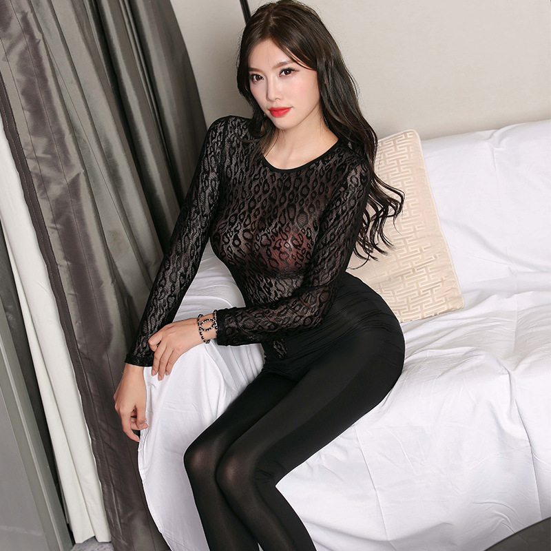 Lace Sheer Elasticity Transparent Catsuit Erotic Party Sex See Through Allure Jumpsuits Zipper Open Crotch Sexy Women Bodysuits