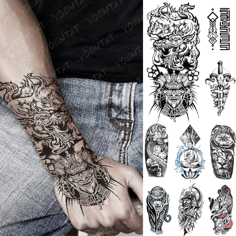 Waterproof Temporary Tattoo Sticker Dragon Japanese Samurai Flash Tattoos Lion Compass Leopard Geometry Body Art Arm Fake Tatoo