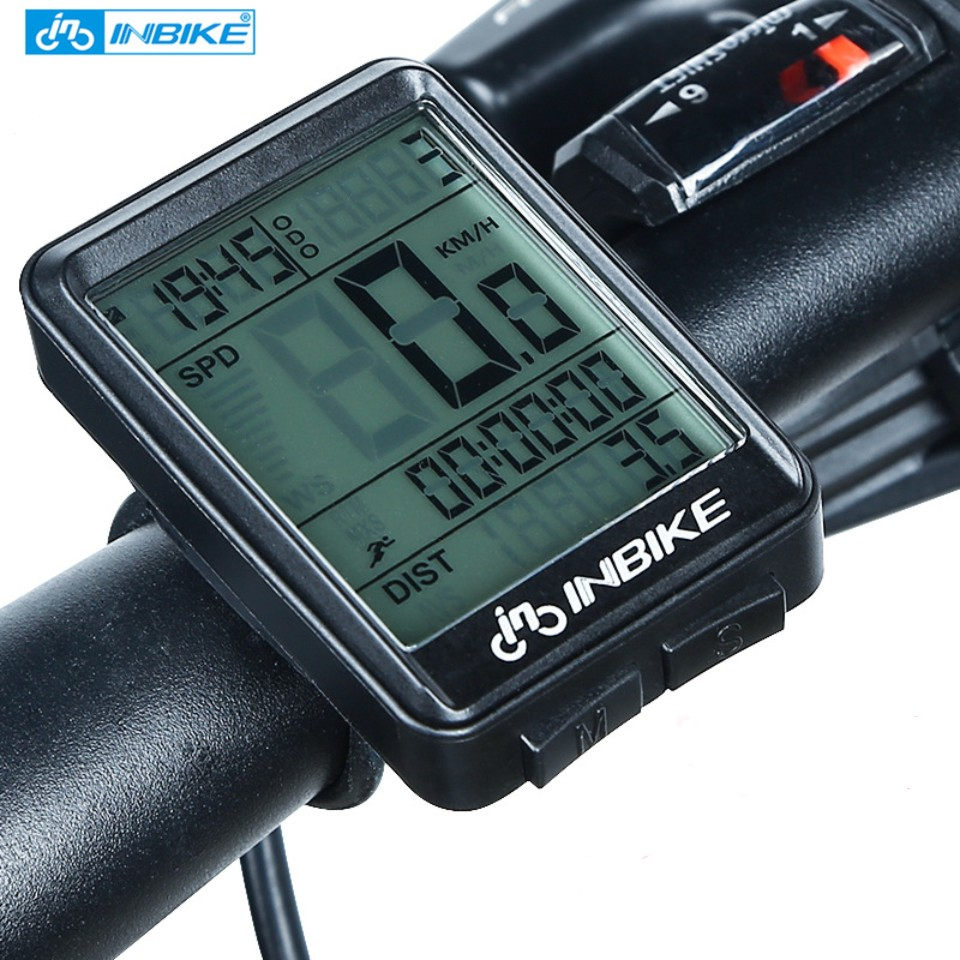 INBIKE 2.1inch Fiets Computer fiets Draadloze en Bedrade Stopwatch MTB Fietsen Kilometerstand Snelheidsmeter Multifunctionele LED Backlight