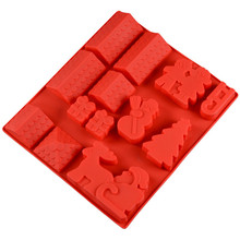 Silicone Mold DIY 3D Christmas Tree Snowman Gingerbread House Cake Chocolate Jelly Craft Soap Mould Biscuit Cube Tray