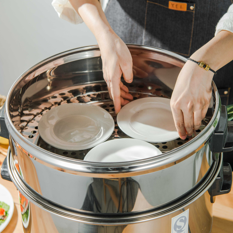 Stainless Steel Thicken Deep Food Steamer Drawer Household Commercial Rack Small Cage Steamed Bun Fish Kitchen Pot Lid Pan Cover