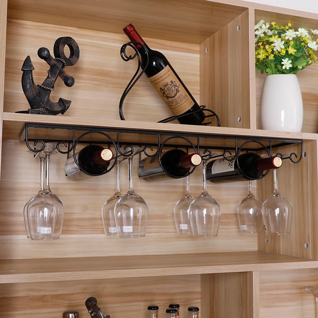 4 rangées accrochant le support de stockage de vin d'organisateur de verre de vin sous le cintre de support de verres à pied d'armoire tient 3 supports de stockage de vin de bouteilles