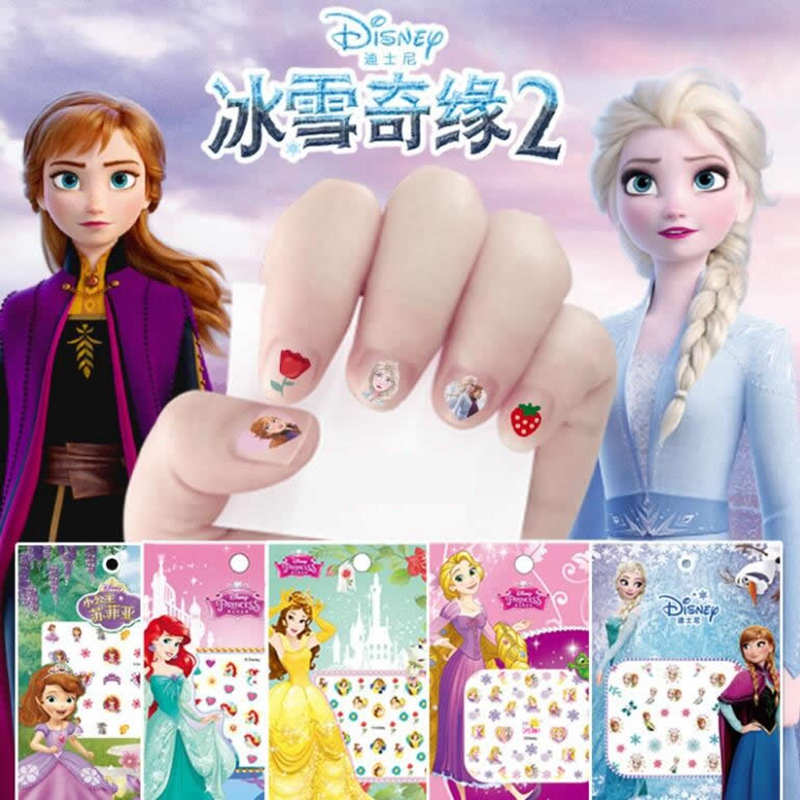 דיסני Cartoon קפוא נסיכת אלזה אנה שלג לבן איפור נייל מדבקות מיני מיקי בת ים תפר מדבקות צעצוע לילדים