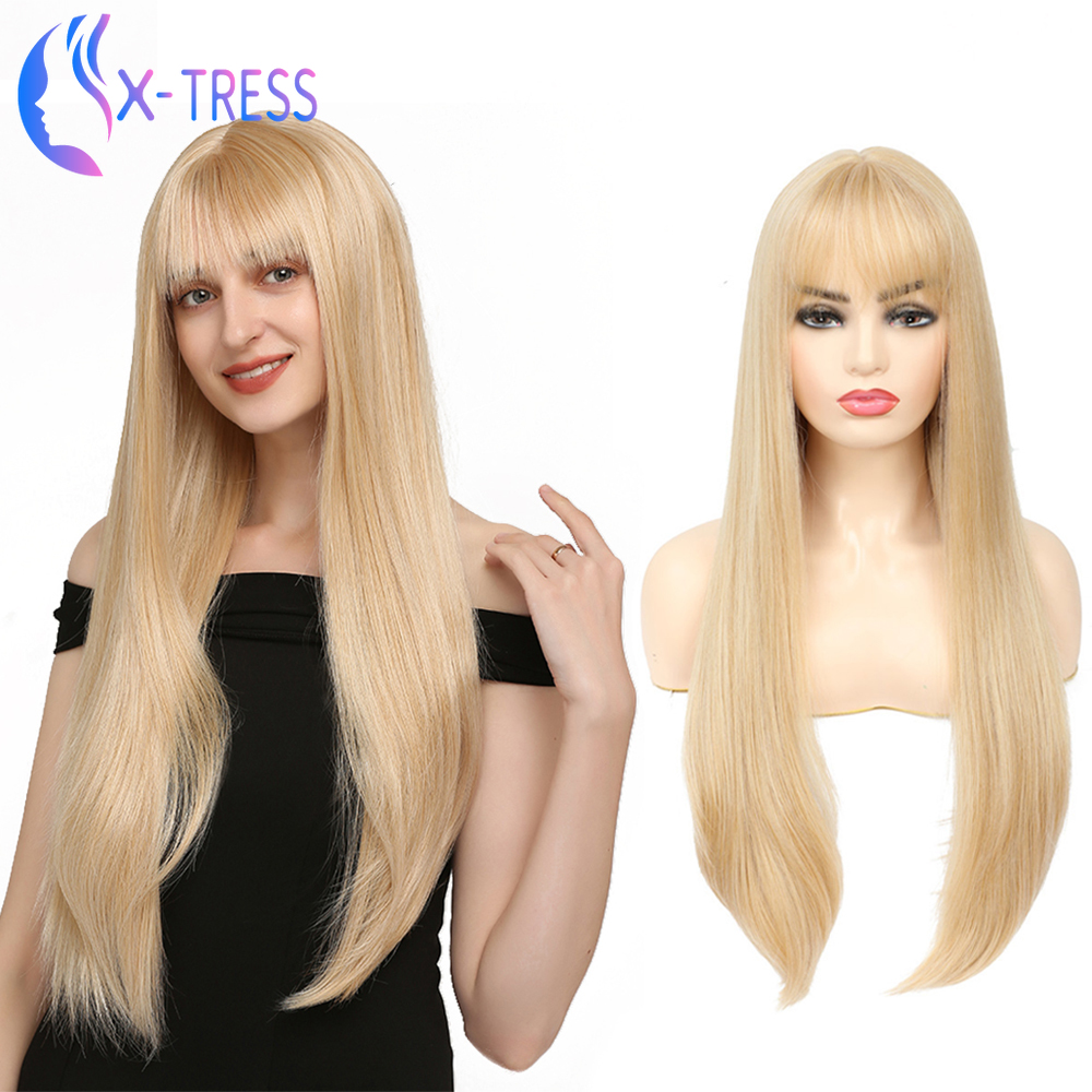 Long Straight Gold Blonde Synthetic Wig With Bangs Middle Part For Women High Temperature Fiber Party Daily Cosplay Wig X-TRESS