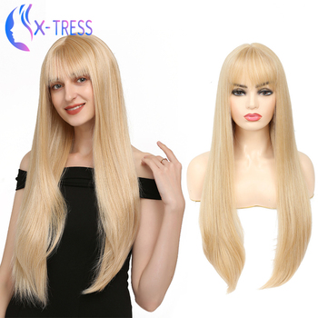 Long Straight Gold Blonde Synthetic Wig With Bangs Middle Part For Women High Temperature Fiber Party Daily Cosplay X-TRESS - discount item  63% OFF Synthetic Hair